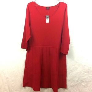 NWT Ann Taylor Red Knit FitnFlare Dress XL PETITE